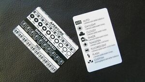 Photography cheat sheets/tip cards camera settings guides PLASTIC credit CARDS