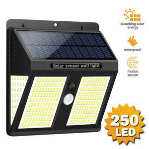 250 LED Solar Motion Sensor Black Lights Outdoor Garden Wall Lamp Floodlight USA
