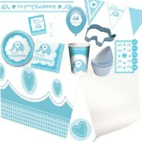 Baby Boy Blue Elephant Christening Party Tableware, Decorations & Balloons