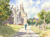 John A. Case - Signed Contemporary Watercolour, Church Graveyard Study