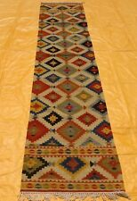 "Antique Handmade Anatolian Runner Geometric Kilim Rug 2' 6"" X 12Ft Free Shipping"