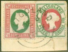 More details for heligoland 1873 1/4 sch rose & green sg5 die i & 10pf (1 1/2d) sg14 v.f.u piece