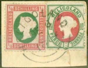 Heligoland 1873 1/4 Sch Rose & Green SG5 Die I & 10pf (1 1/2d) SG14 V.F.U Piece