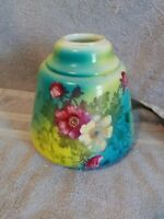 Vintage GWTW Green Hand Painted Roses Floral Hurricane Oil Glass Lamp Shade