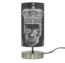 Skull Lamp Light Lampshade Bedside Table Desk Silver Royal Skulls Boys Girls