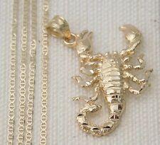 Real 14k Yellow Gold Scorpio 3D Diamond Cut Charm Pendant Gucci chain 18 Inch