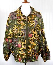 Vintage EVR Women's Silk Bomber Jacket Full Zip Multi Color Paisley Size MEDIUM