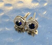 925 Sterling Silver Stud Earrings Blue Stone Small White Sparkly Stones Round