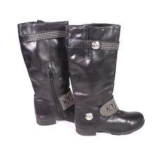 4S Killah Damen Stiefel Boots Leder schwarz Gr. 36 Biker-Look Nieten