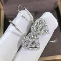 Luxury 925 Silver Heart Drop Earrings for Women White Sapphire Wedding Jewelry