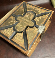 Antique 1800s German Bible Martin Luther Wood Cover Metal Clasp Illustrated