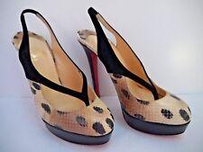 NEW CHRISTIAN LOUBOUTIN leopard print python slingback platform pumps heels 39