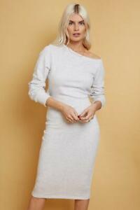 Little Mistress Dress, Slash Neck Open Back Midi Sweat Dress, Grey Size 16 UK