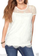 Maglie e camicie da donna bianchi in pizzo con girocollo