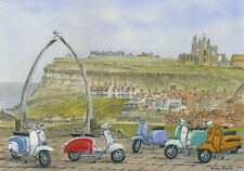 The Italian Job - Visits Whitby - Scooter, Vespa, Lambretta Print