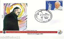 2001 - TIMBRE SUR ENVELOPPE FDC 1°JOUR - PAPE JEAN-PAUL II - MALTE.SAN PAOLO