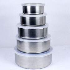 5 Pieces Set Stainless Steel Bowls Food Storage Lunch Box Fresh Salad Mixing