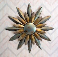 Sun Wall Hanging Aqua Sunburst Distressed Metal Regal Art 29 Inches