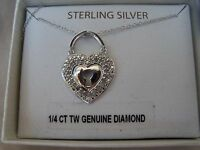Victoria Townsend Sterling Silver 1/4 CT TW Diamond Keyhole Necklace $150 NWT