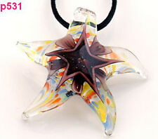 Brown 1 pc Starfish star Lampwork Glass Pendant Necklace p531