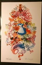 NATHAN SZERDY SIGNED 12X18 SIGNED ART PRINT ALICE IN WONDERLAND LOOKING GLASS
