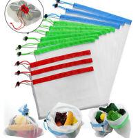 15 Pcs Reusable Produce Bags Black Rope Mesh Vegetable Fruit Toys Storage Pouch