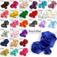DIY 20/100PCS Satin Ribbon Rose Flower 25/40/50 mm Craft/Wedding Appliques Decor