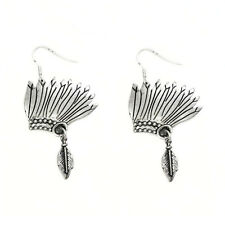 BURNISHED SILVER INDIAN CHIEF HEADDRESS SILHOUETTE EARRINGS WIRE DANGLE