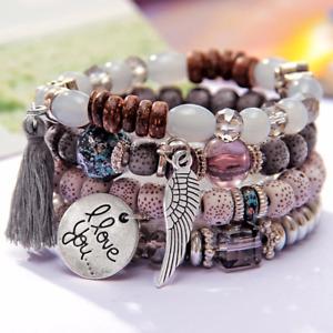 4Pcs/Set Pendant Beads Bohemian Bracelets Women Lava Stone Wristband Bangles