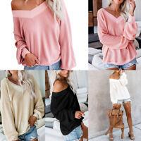 Fashion Women Ruff Sleeve Pullover Knit Sweater Off Shoulder V-Neck Jumper Tops