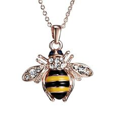 DianaL Boutique Beautiful Rose Gold Plated Bee Pendant Necklace Enamel Crystals