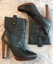 Women's Size 7.5 Nine West Black Leather Ankle Boots Booties Heels Shoes EUC