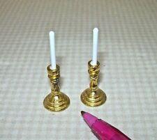 Miniature Pair Sturdy GOLD Candlesticks w/White Candles DOLLHOUSE 1:12