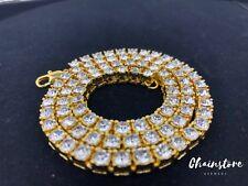 """20"""" Tennis Chain Halskette Kette Ice Bling Bling Diamant Gold Plt. Hip Hop Men"""