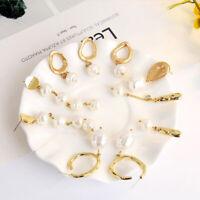 Fashion Women Geometric Pearl Gold Drop Dangle Earrings Statement Jewelry Gif@