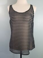 Old Navy Womens Size XS Casual Sheer Tank Top Sleeveless Black Polka Dot T28