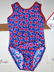Alpha Factor Olympics Leotard Leo USA Hologram Racer Blue Red Stars New Women