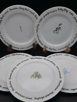"Pottery Barn 8"" Bar Lingo Plates Excellent Drink Recipe Appetizer Dessert Set 5"