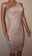 VICKY MARTIN nude beige lace fitted one shoulder bodycon dress 8 10 BNWT wedding