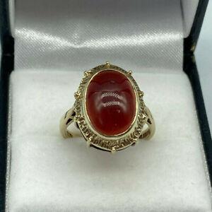 9ct Gold Hallmarked Ladies Oval Cabochon Garnet Ring.  Goldmine Jewellers.