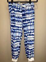 LuLaRoe M Jax #2144 - Jogger Sweat Pants - Blue & Navy on White