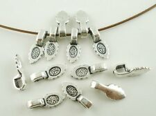 50 Glue on Bails Pendant Hanger Dull Silver Nickle Tone Plated 15x5mm