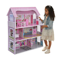 Barbie Size Doll House Playhouse Dream Girls Play Wooden Dollhouse w/ Furnitures