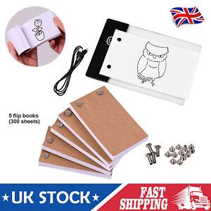 300 Sheets Flip Book Kit LED Light Box Tracing Copyboard Art Sketching Flipbook