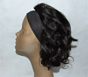 Headband Wig - Soft Wavy Black Human Hair Wig - No Glue, No Gel