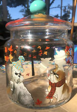 "Dogs & Leaves Themed Decorated Cookie Container Jar W/ Lid 6"" Diameter 8.75""Tall"