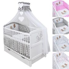 Babybett Kinderbett Weiß 140x70 Teddybär Schublade Moskitonetz Bettset komplett