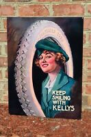 """OLD STYLE """"KELLY TIRE GIRL"""" SPRINGFIELD RUBBER DEALER STEEL SIGN USA MADE MINT"""