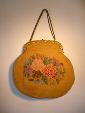 Vintage Antique Sac A Main Tapestry Needlepoint Victorian jolie chaîne