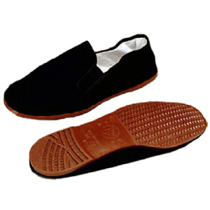 Black Kung Fu Tai Chi Shoes Brown Soles Chinese Ninja Slip on Slippers